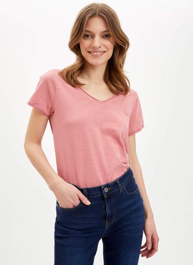 DeFacto V Yakalı Kısa Kollu T-Shirt Bordo